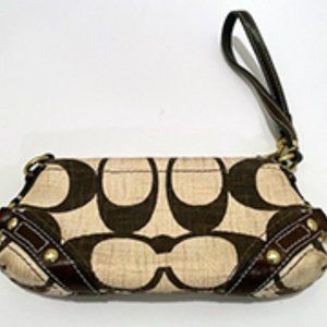 Coach Wristlet- Cream and Brown